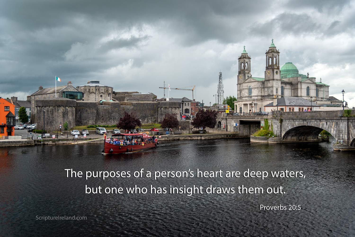 Athlone Castle, St Peter and Paul Cathedral and River Shannon, County Westmeath